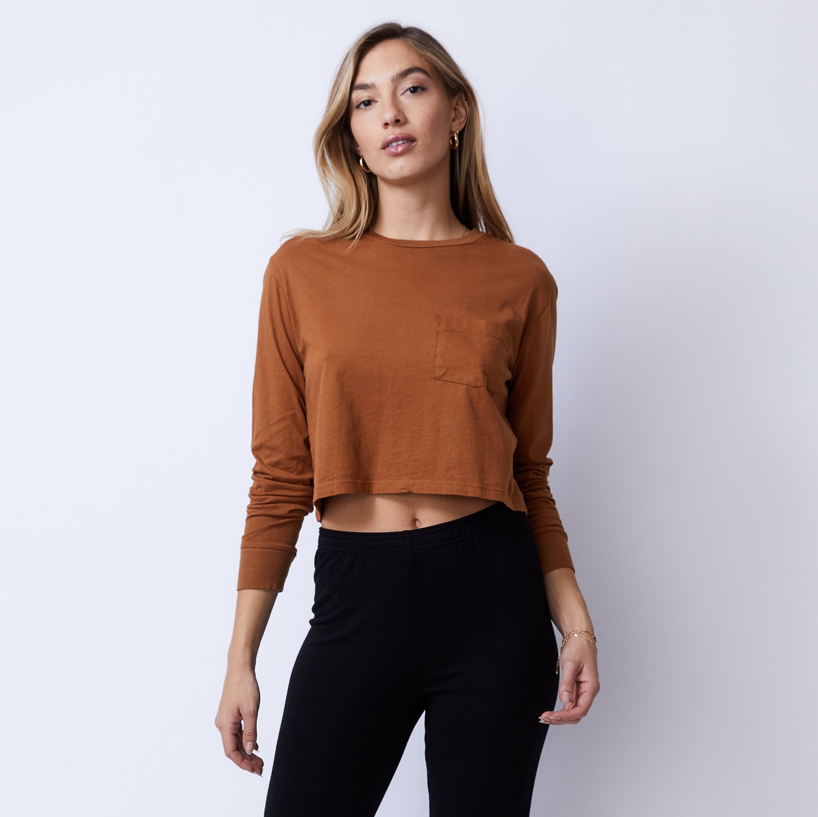 Cropped Long Sleeve Ex-Boyfriend Pocket Crew (4953629720678)