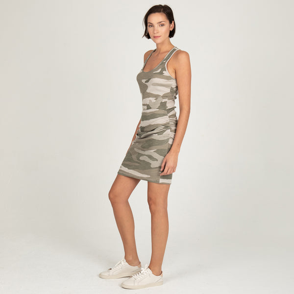 Oversized Camo Tank Shirred Dress