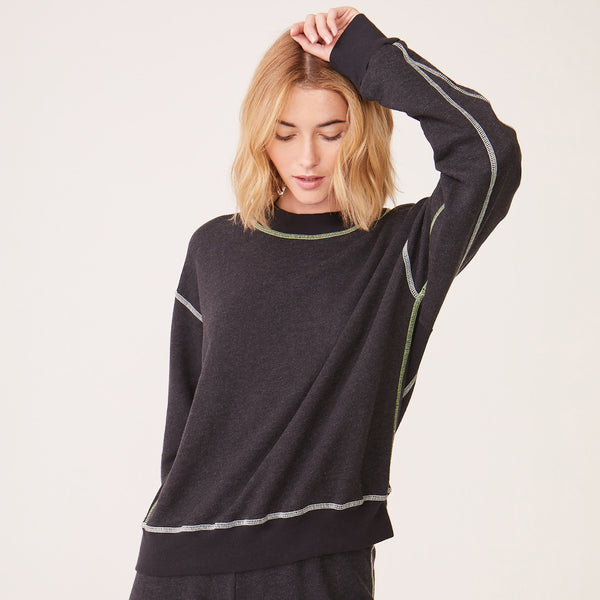 Pop Stitching Mock Neck Seamed Sweatshirt