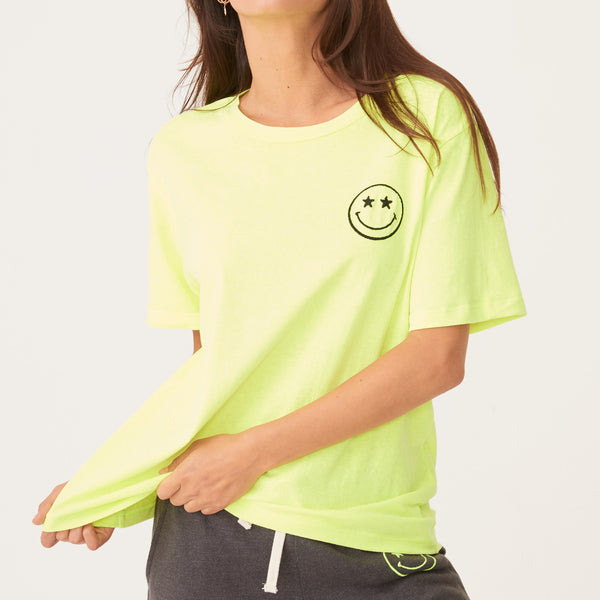 Smiley Embroidered Oversized Crew Neck Tee
