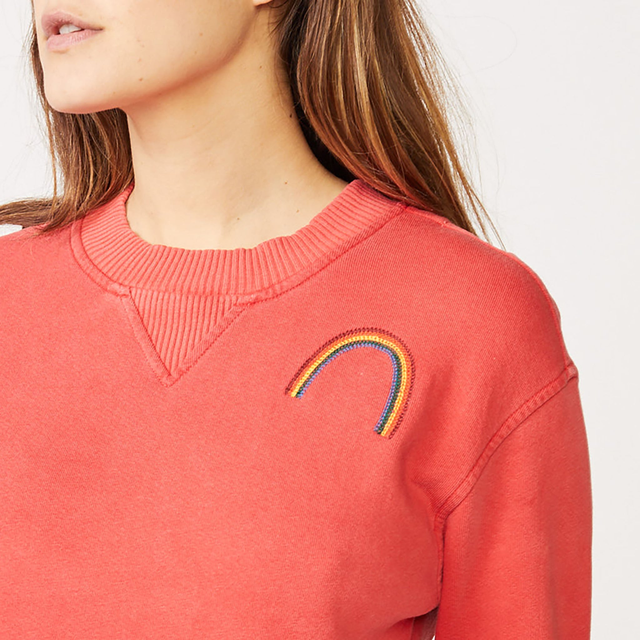 Rainbow Embroidered Slouchy Sweatshirt