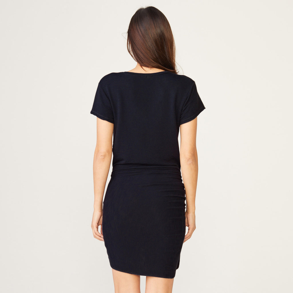 Supersoft Short Sleeve V Dress With Tie