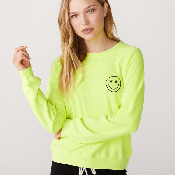 Smiley Embroidered Raglan