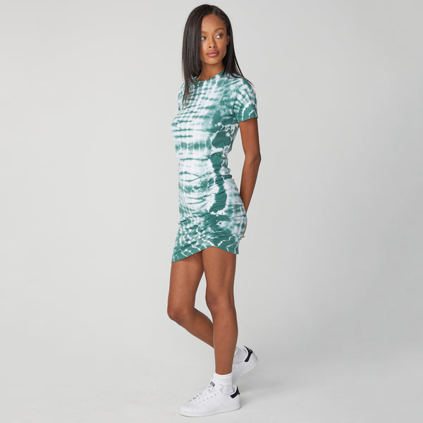 Alligator Tie Dye Shirred Dress