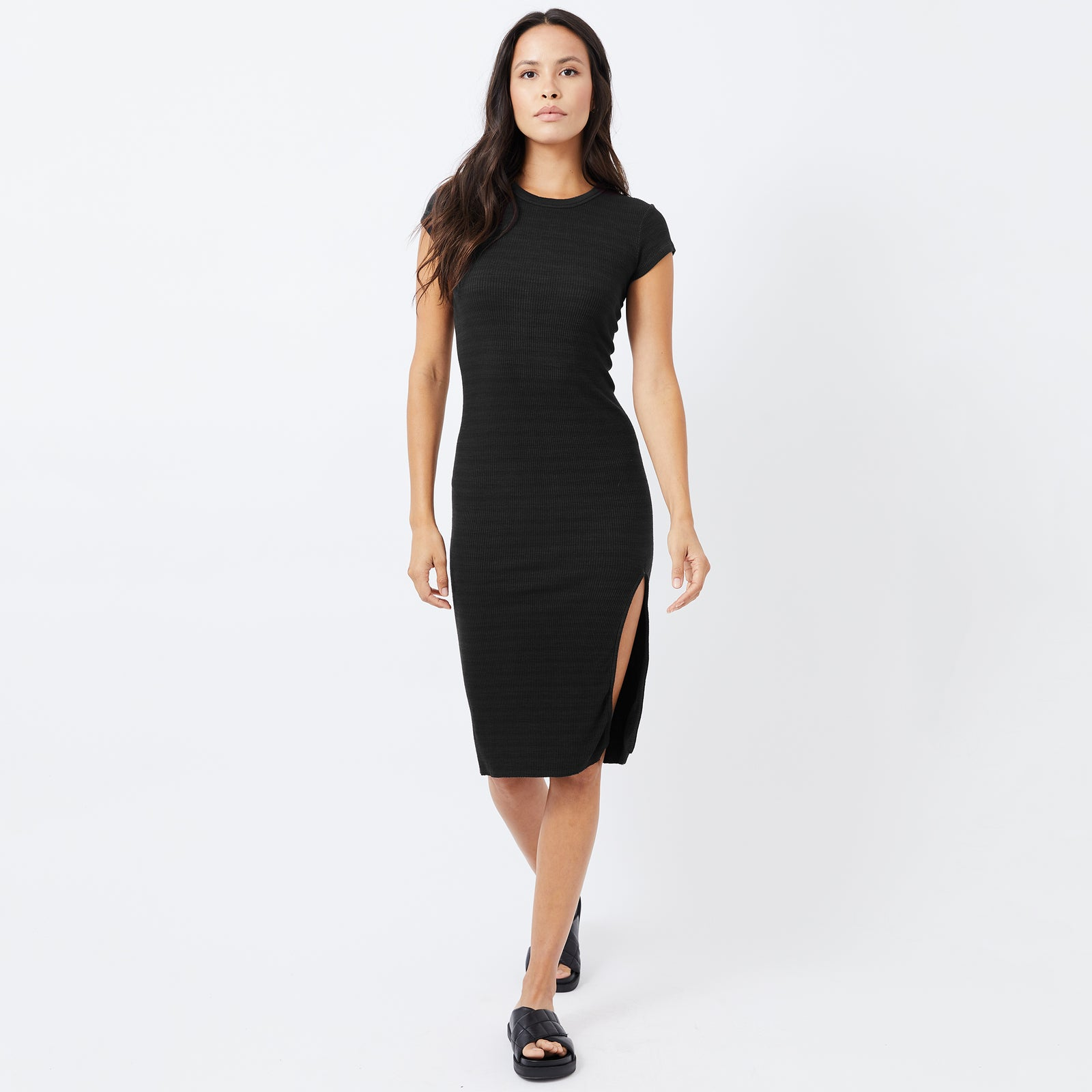 Supersoft Rib Cap Sleeve Dress (4945169383526)