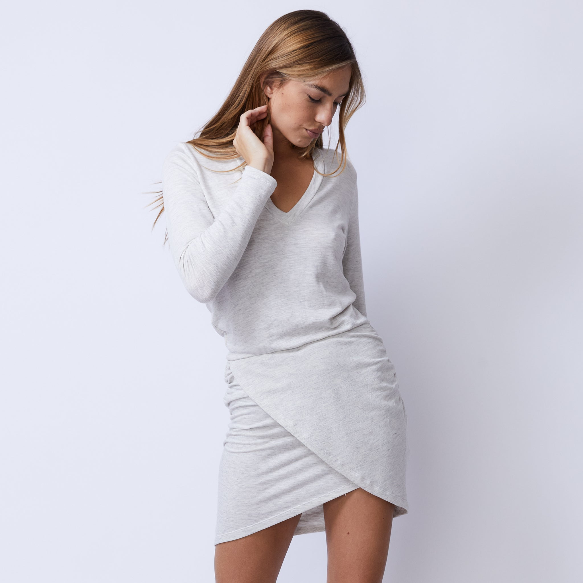 Supersoft Long Sleeve Overlap Shirred Dress