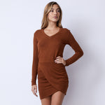 Supersoft Long Sleeve Overlap Shirred Dress (4960548585574)