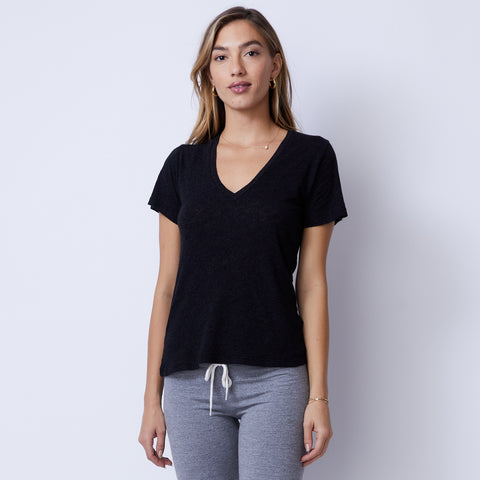 Textured Tri-Blend Fitted V Neck Tee (4953642401894)
