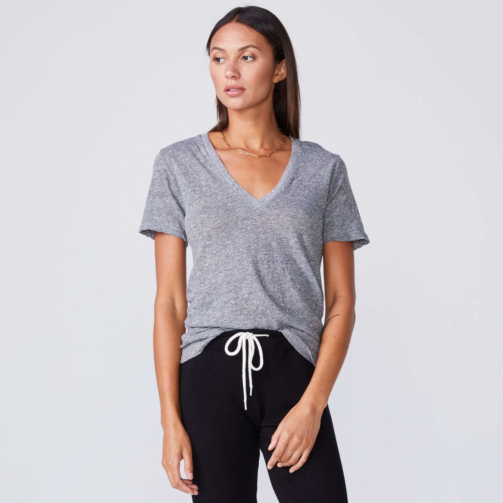 Textured Tri-Blend Fitted V Neck Tee