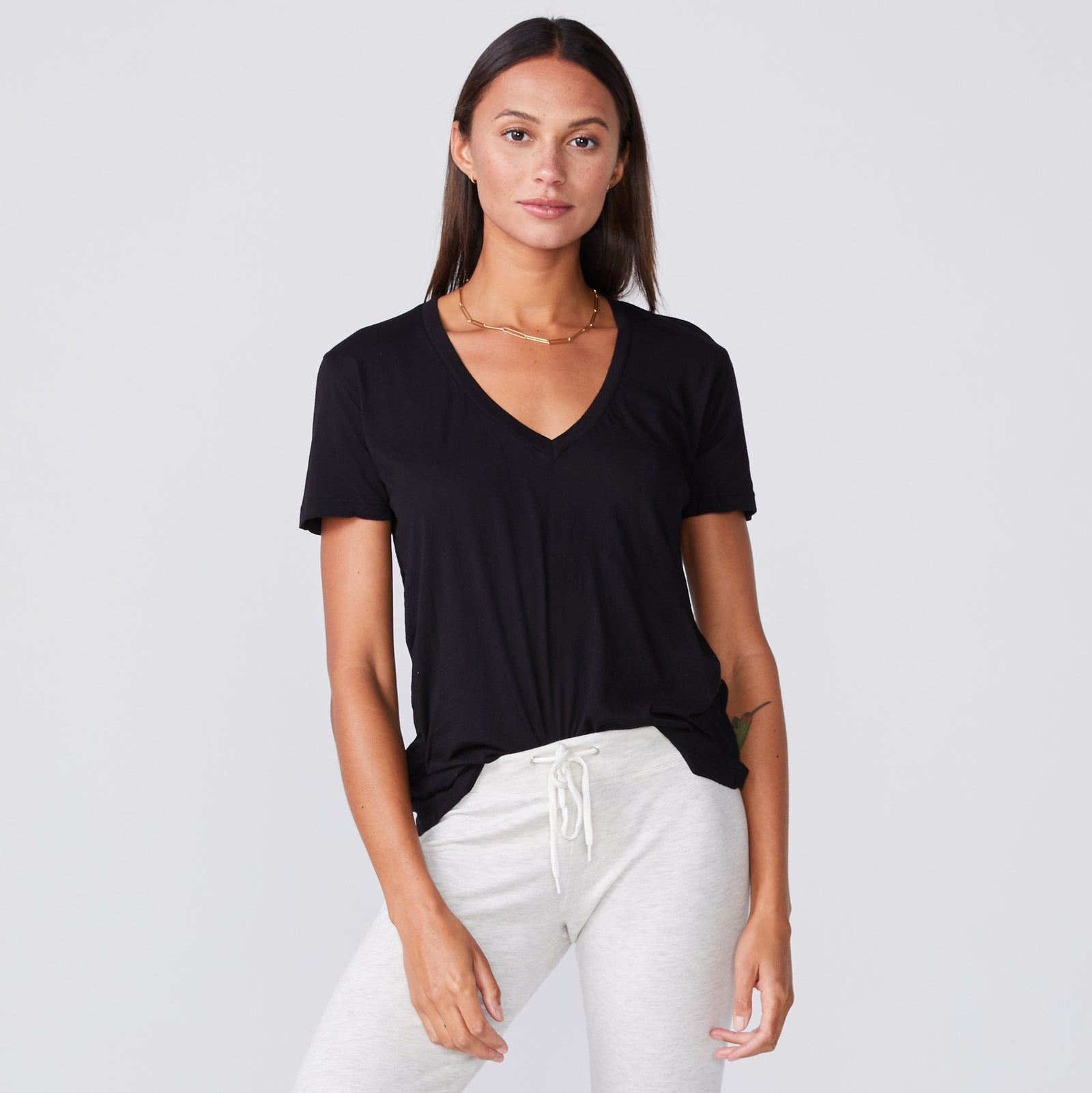 Super Fine Jersey Fitted V Neck Tee