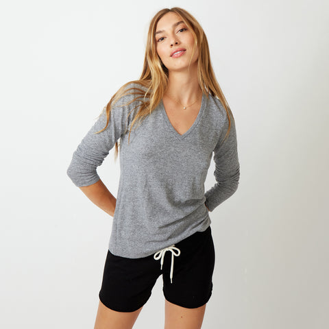 Textured Tri-Blend Long Sleeve Relaxed V-Neck Tee (679692632091)