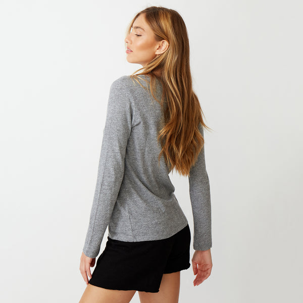 Textured Tri-Blend Long Sleeve Relaxed V-Neck Tee