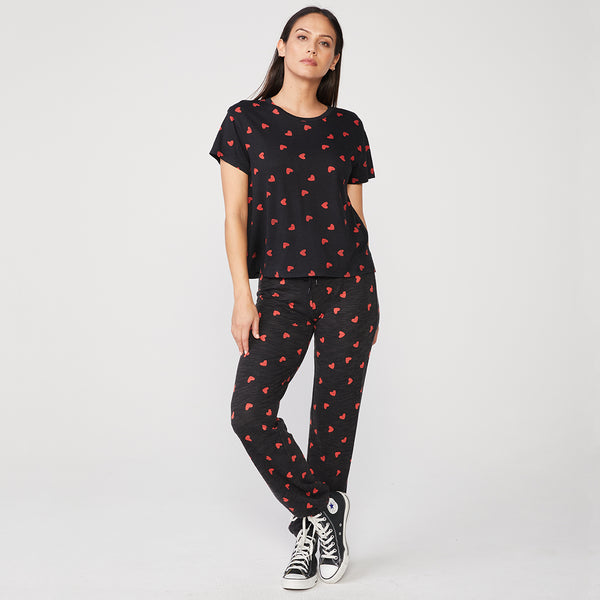 All Over Heart Relaxed Basic Crew