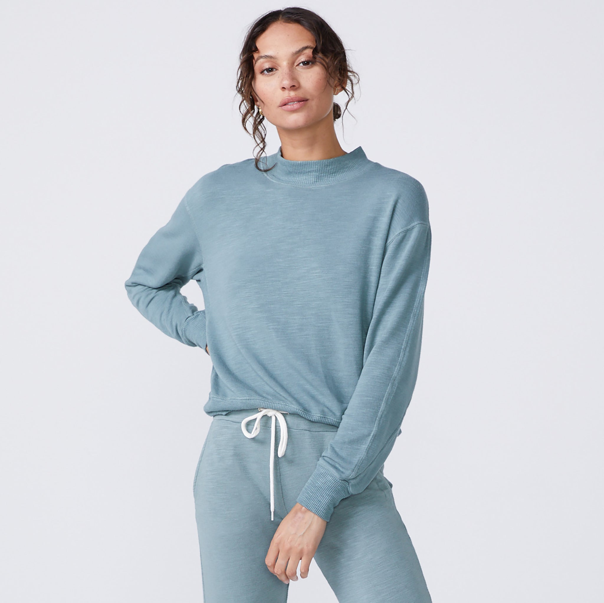 Supersoft Mock Neck Seamed Sweatshirt (6194333647030)