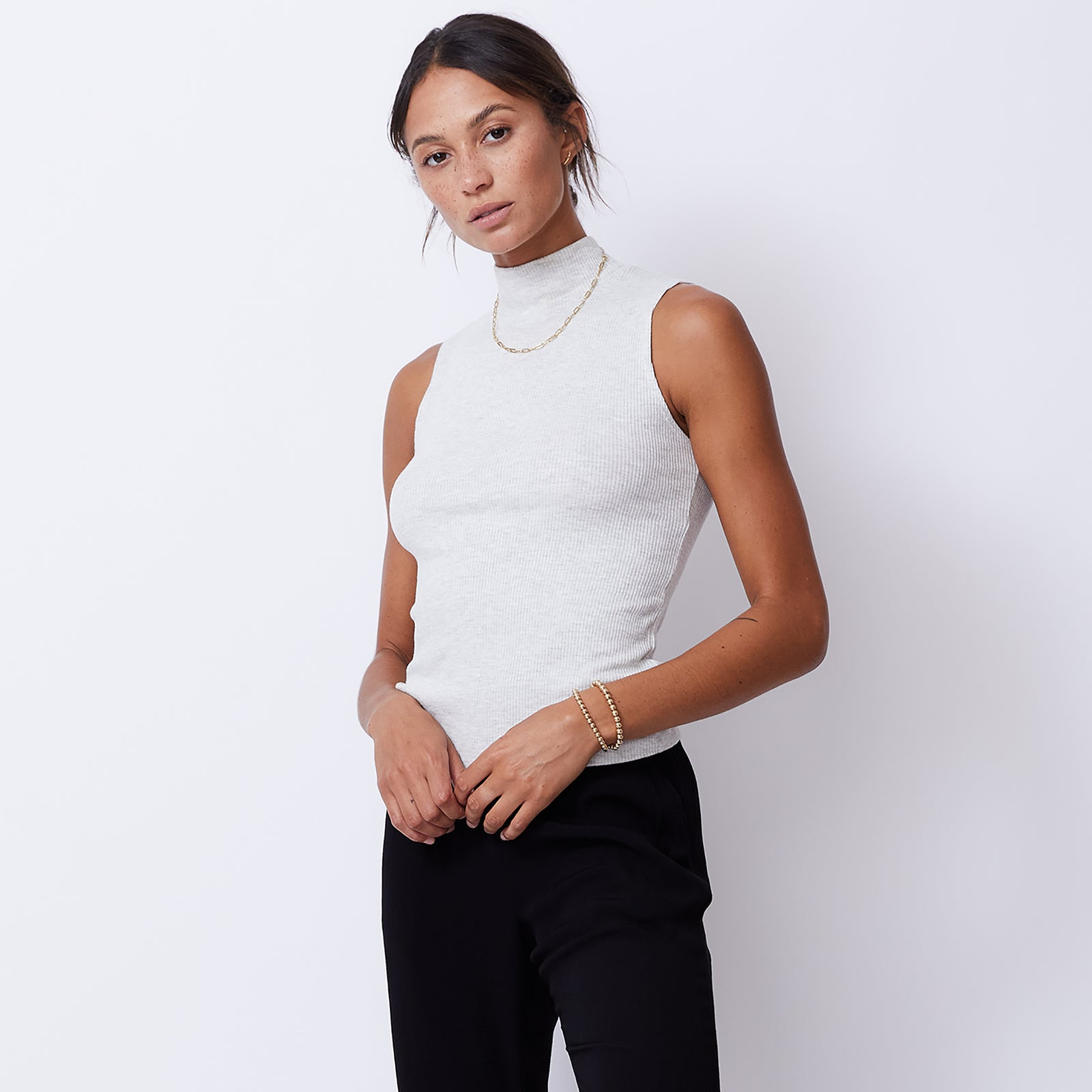 Supersoft Rib Mock Neck Tank (4945169940582)