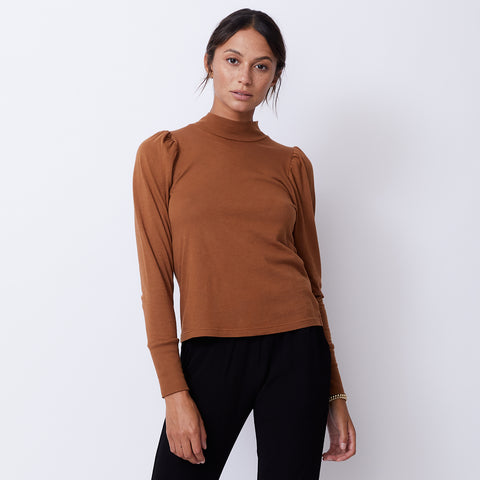 Mock Neck Shirred Sleeve Top (4945170137190)