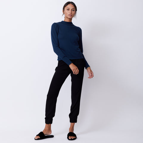 Mock Neck Shirred Sleeve Top (4945170235494)