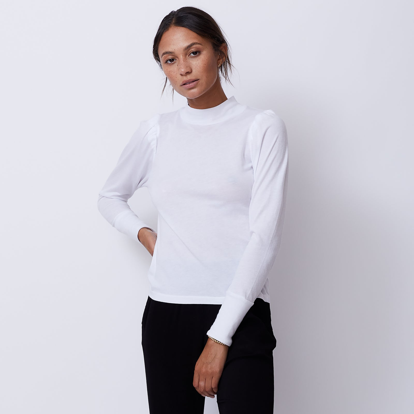 Mock Neck Shirred Sleeve Top
