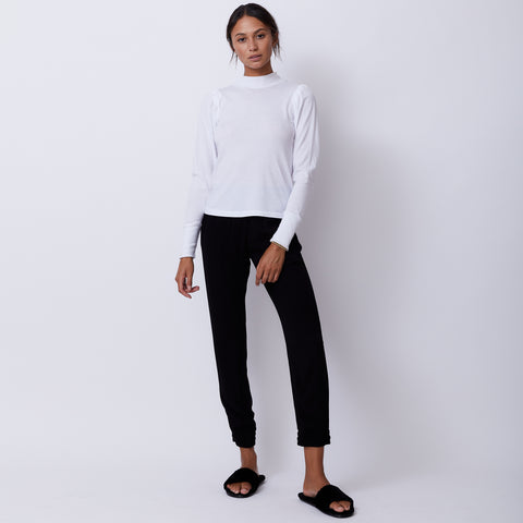 Mock Neck Shirred Sleeve Top (4945170071654)