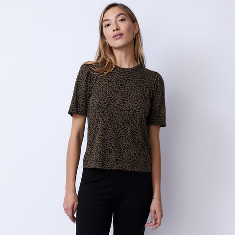 Mini Leopard Puff Sleeve Top