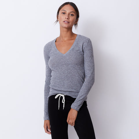 Textured Tri-Blend Fitted Long Sleeve V Neck Tee (9700940751)