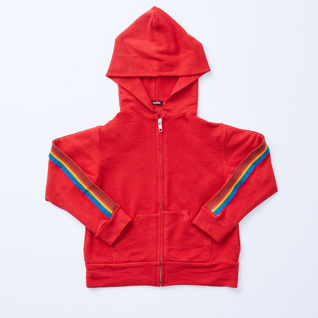 Kids Supersoft Rainbow Stripe Zip Up Hoody (1597311385702)
