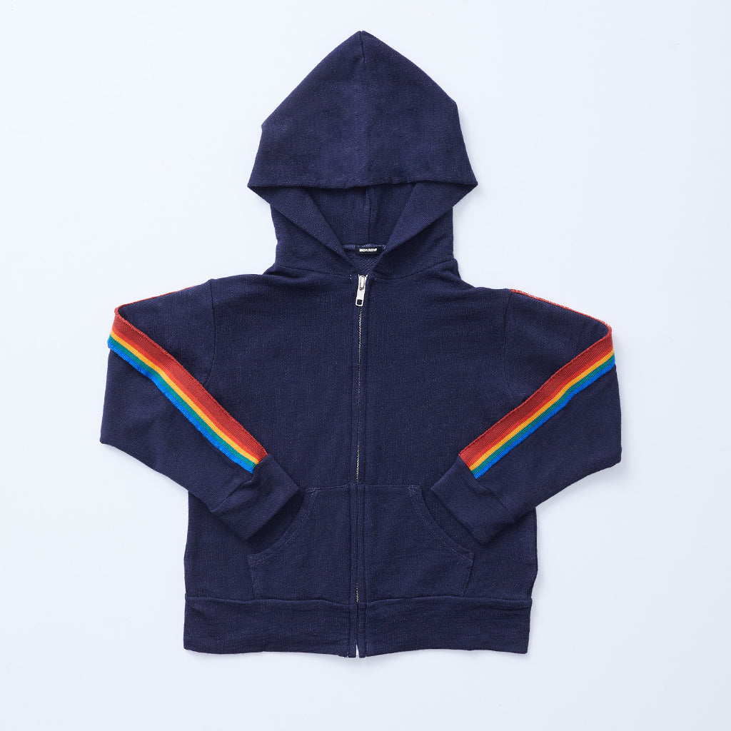 Kids Supersoft Rainbow Stripe Zip Up Hoody