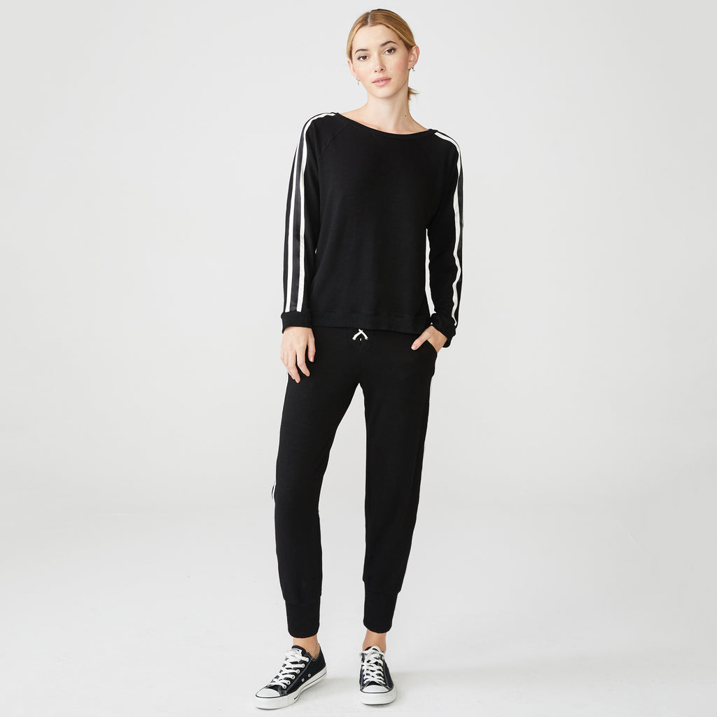 Supersoft Lace Up and Stripe Sweatshirt