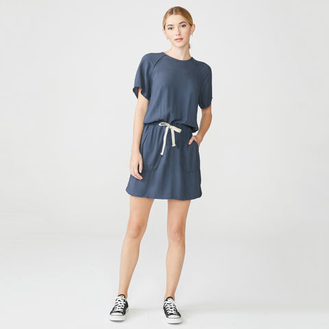 Short Sleeve Crepe Dress