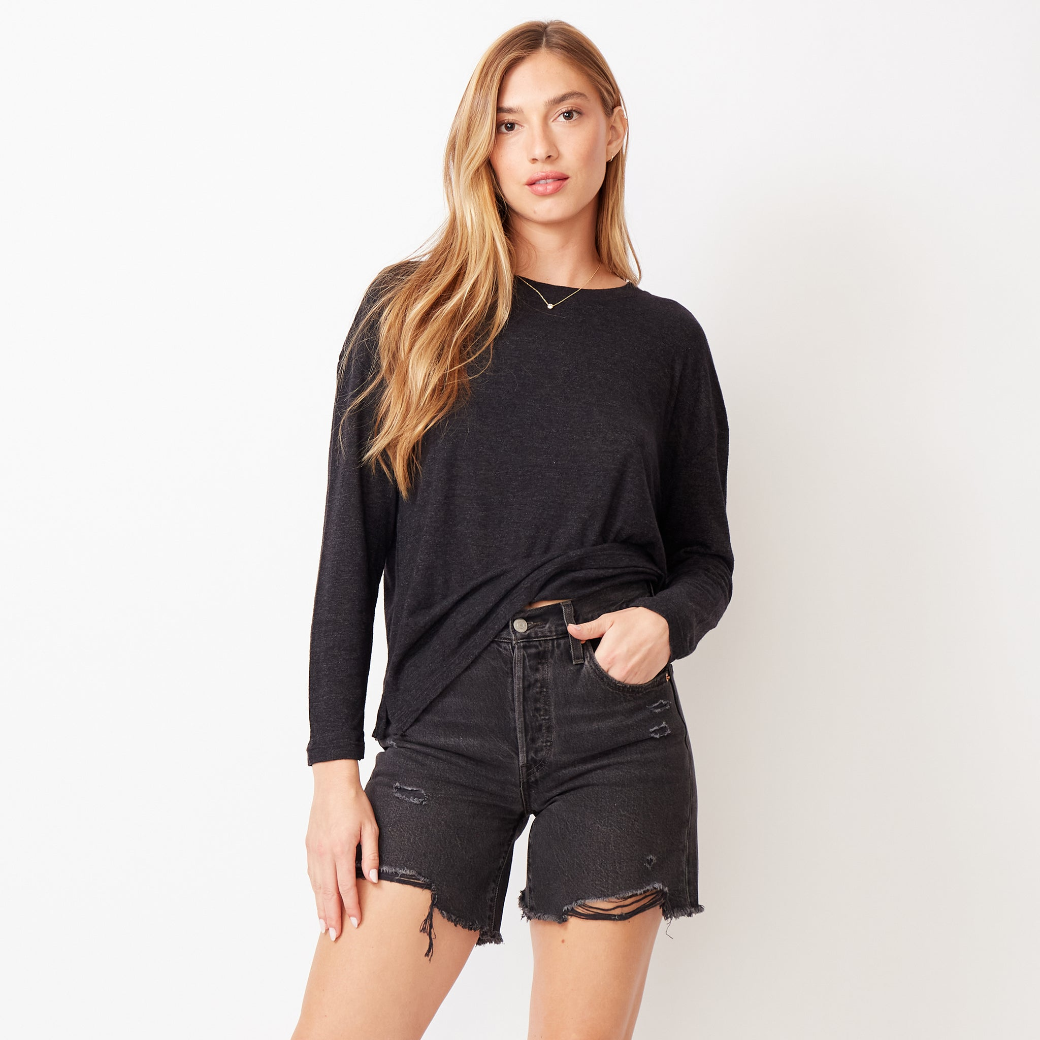 Textured Tri-Blend Slouchy Top