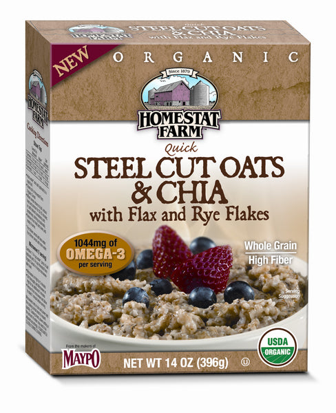 Homestat Farm Organic Steel Cut Oats & Chia with Flax and Rye Flakes