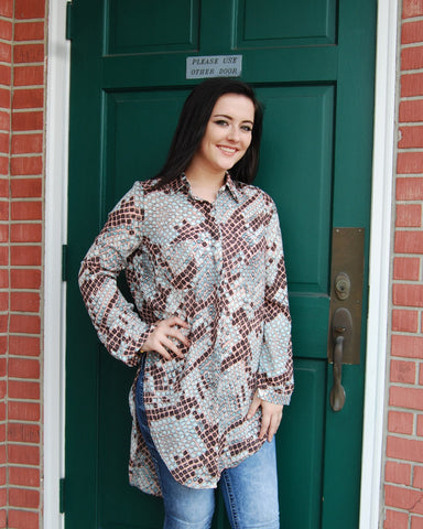 Buddy Love Brown Pink Snakeskin Tunic