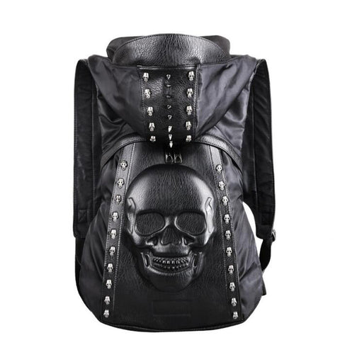 3D Skull Leather Backpack