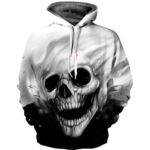 2017 3D Skull Hoodie - Check asian size table