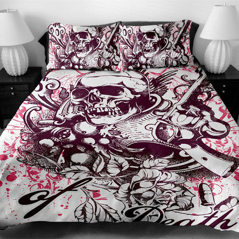 3D Gun Skull Bedding Set