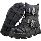 Men's Genuine Leather Skull Boots - Check sizing chart