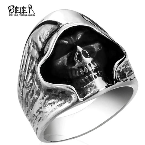 Skull Ring Man Never Fade Punk  Ring