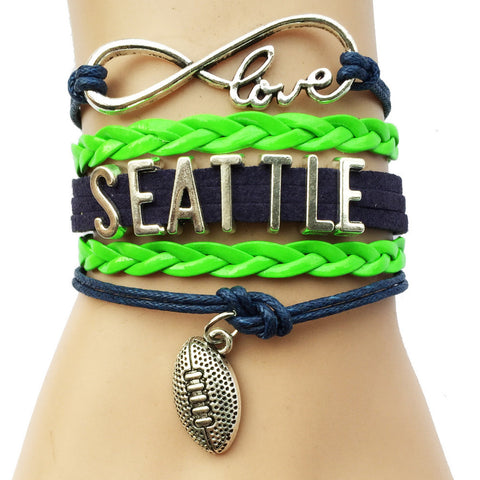 INFINITY LOVE SEATTLE SEAHAWKS FOOTBALL BRACELET
