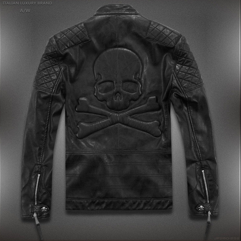 High Quality Skull Leather Jacket Asian Sizes Check