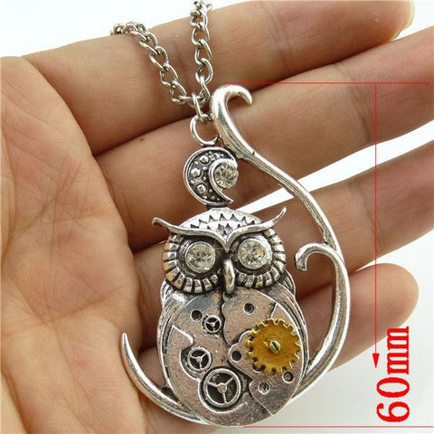 Steam Punk Dangle Pendant Owl Necklace