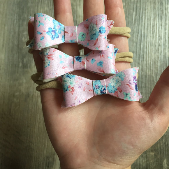 Pearlized Pink Floral Bow