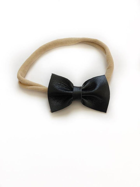 Black Vegan Leather Bow