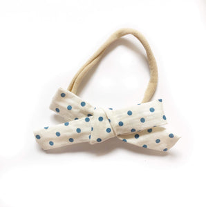 Blue Polka Dot Fabric Bow