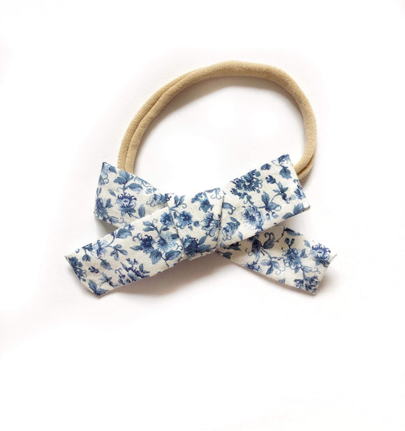 Blue Floral Dot Fabric Bow