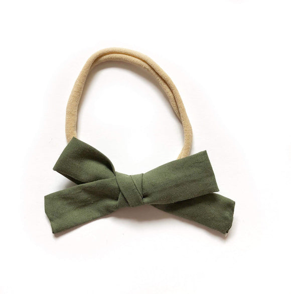 Olive Fabric Bow