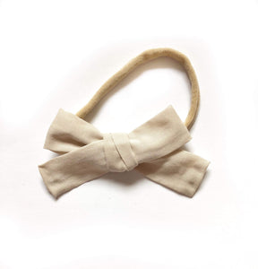 Beige Fabric Bow