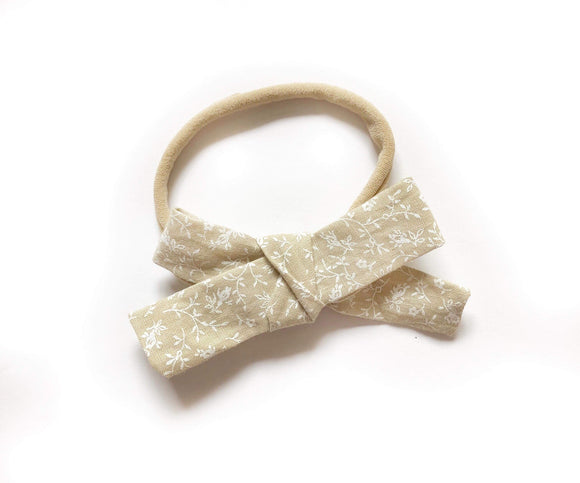 Beige Floral Fabric Bow