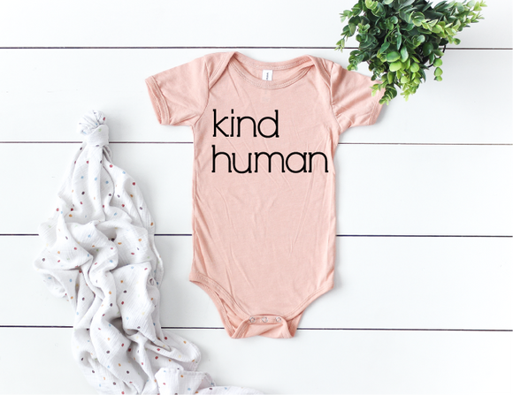 Kind Human Onesie - Peach Triblend