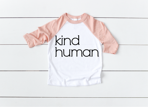 Kind Human Kids - Peach Raglan