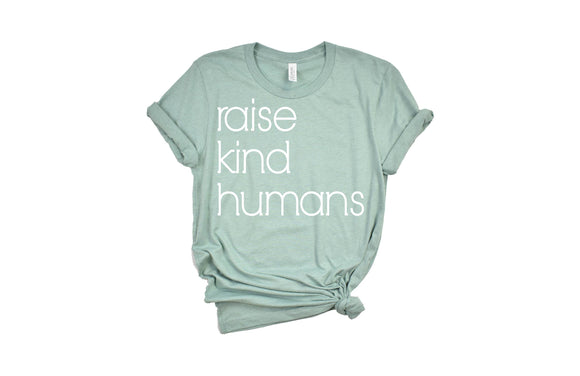 Dusty Blue Raise Kind Humans Mama Tee